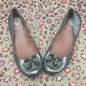Vince Camuto  Jeweled Leather Silver Ballet Flats